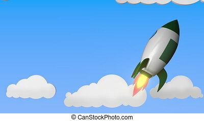 Flag of Algeria on rocket flying high in the sky. Algerian...