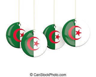 Flag of algeria, round labels