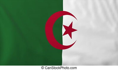 Flag of Algeria, slow motion waving. Rendered using official...