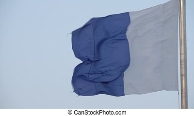 Flag of Alicante in Spain fluttering in the wind