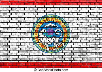 flag of Almaty painted on brick wall