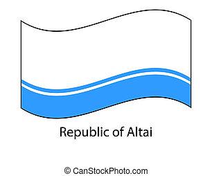Flag of Altai Republic, Russia. Russian federation state. Altai Republic, Gorno-Altaisk. Flag in the wind