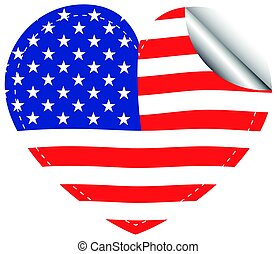 Flag of America in heart shape