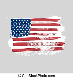 Flag of America on a gray background.