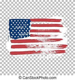Flag of America on an empty background.