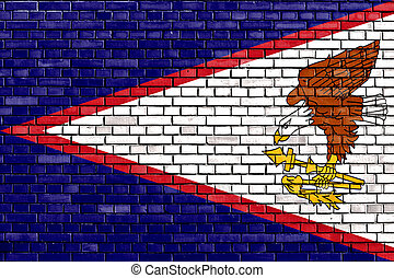 flag of American Samoa painted on brick wall