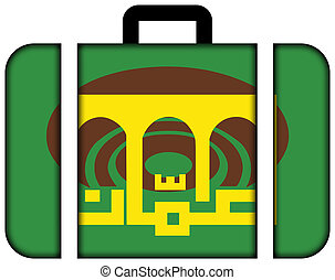Flag of Amman City, Jordan. Suitcase icon, travel and transportation concept