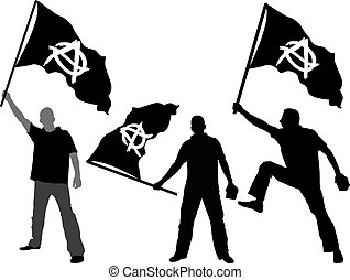 flag of Anarchy  - man with waving flag of Anarchy