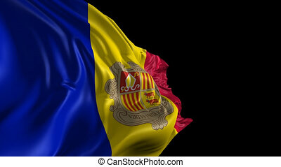 Beautiful 3d animation of the Andorra flag with alpha channel in loop mode
