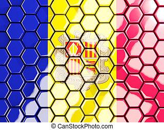 Flag of andorra, hexagon mosaic background
