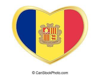 Flag of Andorra in heart shape, golden frame