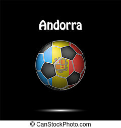 Flag of Andorra in the form of a soccer ball
