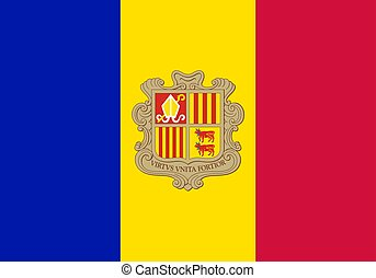 Flag of Andorra official colors and proportions