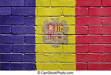Flag of Andorra on brick wall