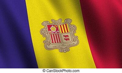 Flag of Andorra, seamless loop