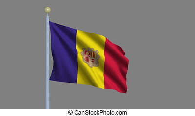 Flag of Andorra waving in the wind