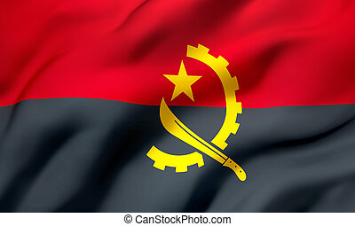 Flag of Angola blowing in the wind