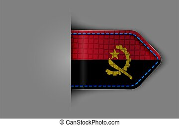 Flag of Angola in the form of a glossy textured label or bookmark. Vector illustration.