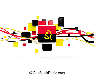 Flag of angola, mosaic background with lines
