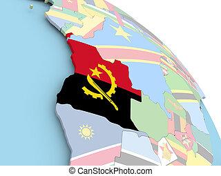 Flag of Angola on globe