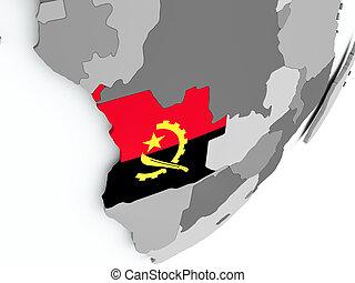 Flag of Angola on map