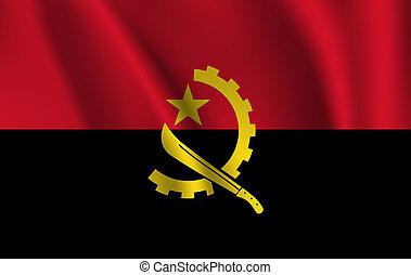 Flag of Angola. Realistic waving flag of Republic of Angola.