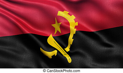 Flag of Angola waving in the wind