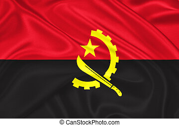 flag of Angola waving with highly detailed textile texture pattern