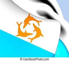Flag of Anguilla (1967-1969). Close Up.