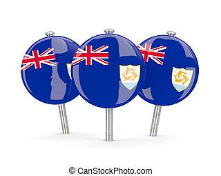 Flag of anguilla, round pins