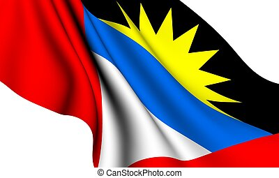 Flag of Antigua and Barbuda against white background.