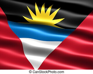 Flag of Antigua and Barbuda, computer generated illustration...