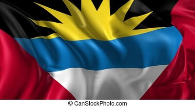 Beautiful 3d animation of the Antigua flag in loop mode
