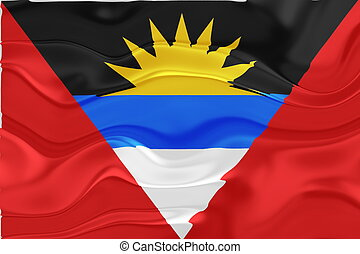 Flag of Antigua wavy