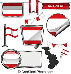 Flag of Antwerp, Belgium - Vector glossy icons of flag of ...