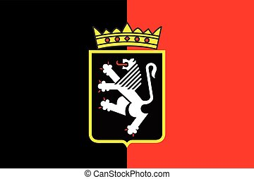 Flag of Aosta Valley with Coat of Arms, Italy. Vector Format