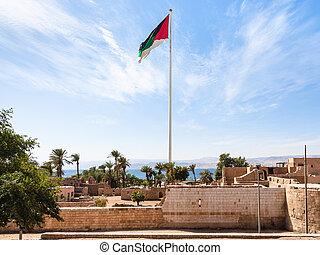 Flag of Arab Revolt over Mamluk Castle in Aqaba
