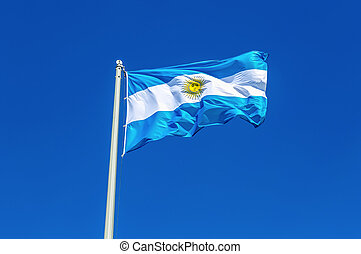 Flag of Argentina flying in the wind against the sky