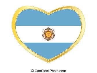 Flag of Argentina in heart shape, golden frame