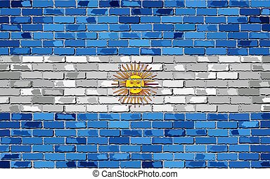 Flag of Argentina on a brick wall