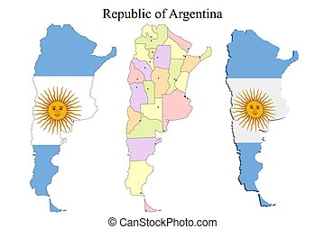 Flag of Argentina on map and map with regional division