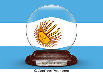 Flag of Argentina on snow globe
