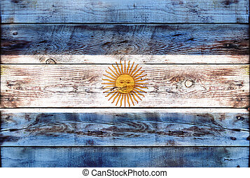 Flag of Argentina painted on grungy wood plank