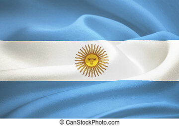 flag of  Argentina waving in the wind. Silk texture pattern