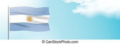 Flag of Argentina waving on a blue sky background. - The ...