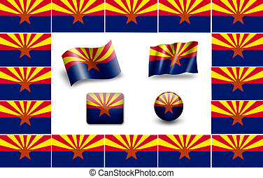 flag of Arizona. icon set