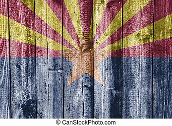 Flag of Arizona on old wooden wall