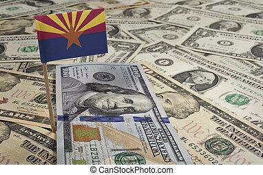 Flag of Arizona sticking in various american banknotes.(series)