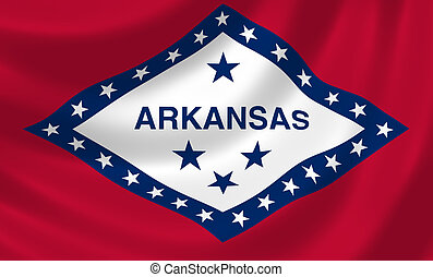 Flag of Arkansas American state waving in the wind detail