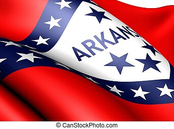 Flag of Arkansas, USA. Close up.